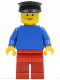 Minifig No: pln150  Name: Plain Blue Torso with Blue Arms, Red Legs, Black Hat