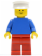 Minifig No: pln151  Name: Plain Blue Torso with Blue Arms, Red Legs, White Hat