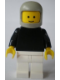 Minifig No: pln152  Name: Plain Black Torso with Black Arms, White Legs, Light Gray Classic Helmet