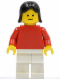 Minifig No: pln153  Name: Plain Red Torso with Red Arms, White Legs, Black Female Hair