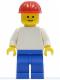 Minifig No: pln154  Name: Plain White Torso with White Arms, Blue Legs, Red Construction Helmet