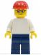 Minifig No: pln155  Name: Plain White Torso with White Arms, Dark Blue Legs, Red Construction Helmet, Glasses