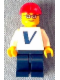 Minifig No: pln155s  Name: Plain White Torso with Vestas Logo (Sticker) with White Arms, Dark Blue Legs, Red Construction Helmet, Glasses