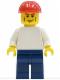 Minifig No: pln156  Name: Plain White Torso with White Arms, Dark Blue Legs, Red Construction Helmet, Vertical Cheek Lines
