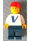 Minifig No: pln156s  Name: Plain White Torso with Vestas Logo (Sticker) with White Arms, Dark Blue Legs, Red Construction Helmet, Vertical Cheek Lines