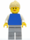 Minifig No: pln158  Name: Plain Blue Torso with White Arms, Light Bluish Gray Legs, Tan Ponytail Hair
