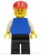Minifig No: pln162  Name: Plain Blue Torso with White Arms, Black Legs, Red Cap, Brown Eyebrows, Thin Grin