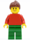 Minifig No: pln163  Name: Plain Red Torso with Red Arms, Green Legs, Reddish Brown Ponytail Hair, Eyebrows
