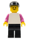 Minifig No: pln165  Name: Plain White Torso with Dark Pink Arms, Black Legs, Black Cap