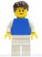 Minifig No: pln166  Name: Plain Blue Torso with White Arms, White Legs, Dark Brown Short Tousled Hair