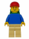 Minifig No: pln167  Name: Plain Blue Torso with Blue Arms, Tan Legs, Red Short Bill Cap, Backpack
