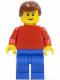 Minifig No: pln168  Name: Plain Red Torso with Red Arms, Blue Legs, Reddish Brown Male Hair, Brown Eyebrows, Thin Grin