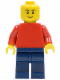 Minifig No: pln171  Name: Plain Red Torso with Red Arms, Dark Blue Legs, No Headgear, Black Eyebrows, Thin Grin
