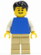 Minifig No: pln172  Name: Plain Blue Torso with White Arms, Tan Legs, Black Short Tousled Hair