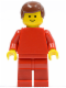 Minifig No: pln174  Name: Plain Red Torso with Red Arms, Red Legs, Reddish Brown Male Hair