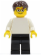 Minifig No: pln176  Name: Plain White Torso with White Arms, Black Legs, Dark Brown Short Tousled Hair, Glasses
