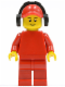 Minifig No: pln177  Name: Plain Red Torso with Red Arms, Red Legs, Red Cap with Hole, Headphones