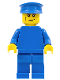 Minifig No: pln178  Name: Plain Blue Torso with Blue Arms, Blue Legs, Blue Hat