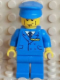Minifig No: pln178s  Name: Plain Blue Torso with Blue Arms, Blue Legs, Blue Hat with Pilot Torso Sticker