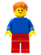 Minifig No: pln186  Name: Plain Blue Torso with Blue Arms, Red Legs, Dark Orange Hair