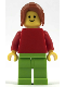 Minifig No: pln187  Name: Plain Red Torso with Red Arms, Lime Legs, Dark Orange Female Ponytail Long
