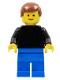 Minifig No: pln188  Name: Plain Black Torso with Black Arms, Blue Legs, Reddish Brown Male Hair