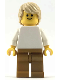 Minifig No: pln189  Name: Plain White Torso with White Arms, Pearl Gold Legs, Tan Tousled Hair