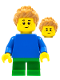 Minifig No: pln191  Name: Plain Blue Torso with Blue Arms, Green Short Legs, Medium Nougat Spiky Hair