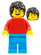 Minifig No: pln192  Name: Plain Red Torso with Red Arms, Dark Azure Legs, Black Tousled Hair