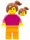 Minifig No: pln193  Name: Plain Magenta Torso with Magenta Arms, Orange Legs, Reddish Brown Side Ponytail