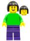 Minifig No: pln194  Name: Plain Bright Green Torso with Bright Green Arms, Dark Purple Legs, Black Bobbed Hair