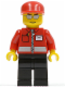 Minifig No: post007  Name: Post Office White Envelope and Stripe, Black Legs, Red Cap, Silver Sunglasses