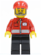 Minifig No: post008  Name: Post Office White Envelope and Stripe, Black Legs, Red Short Bill Cap, Gray Beard