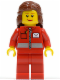 Minifig No: post009  Name: Post Office White Envelope and Stripe, Red Legs, Reddish Brown Female Hair Mid-Length