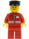 Minifig No: post010  Name: Post Office White Envelope and Stripe, Red Legs, Black Hat