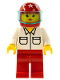 Minifig No: rac010  Name: Shirt with 2 Pockets, Red Legs, Red Helmet 7 White Stars, Trans-Light Blue Visor