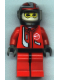 Minifig No: rac019  Name: Racer Driver, Red with White Balaclava, Black Helmet with Red/Silver
