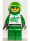 Minifig No: rac020  Name: Race - Driver, Green Alligator, Plain Helmet