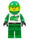 Minifig No: rac020  Name: Race - Green, Green Helmet Plain