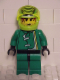 Minifig No: rac021  Name: Racer Driver, Green Jacket and Lime Helmet with Black Stripes/White Checkered Lines