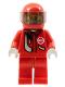 Minifig No: rac034  Name: Racer, Red with Light Bluish Gray Balaclava, Red Helmet, Trans-Black Visor