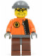 Minifig No: rac039  Name: Hot Rod Driver Orange