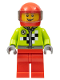 Minifig No: rac054  Name: Lime Jacket with Wrench and Black and White Checkered Pattern, Red Legs, Red Helmet, Trans-Black Visor