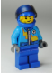 Minifig No: rac055  Name: Dark Azure Race Jacket with Zipper and Yellow Lightning Bolt Pattern, Blue Helmet, Trans-Black Visor