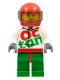 Minifig No: rac059  Name: Race Car Driver, White Octan Race Suit with Silver Zipper, Red Helmet with Trans-Black Visor, Crooked Smile, Stubble Beard