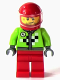 Minifig No: rac061  Name: Lime Jacket with Wrench and Black and White Checkered Pattern, Red Legs, Red Helmet, Trans-Clear Visor