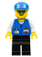 Minifig No: res008  Name: Coast Guard City Center - White Collar & Arms, Black Legs, Blue Cap, Sunglasses