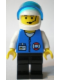 Minifig No: res011  Name: Coast Guard City Center - White Collar & Arms, Black Legs, White Helmet, Trans-Dark Blue Visor, Microphone