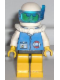 Minifig No: res012  Name: Coast Guard City Center - White Collar & Arms, Yellow Legs with Black Hips, White Helmet, Scuba Tank, Sunglasses