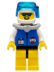 Minifig No: res012a  Name: Coast Guard City Center - White Collar & Arms, Yellow Legs with Black Hips, White Helmet, Light Gray Scuba Tank, Sunglasses